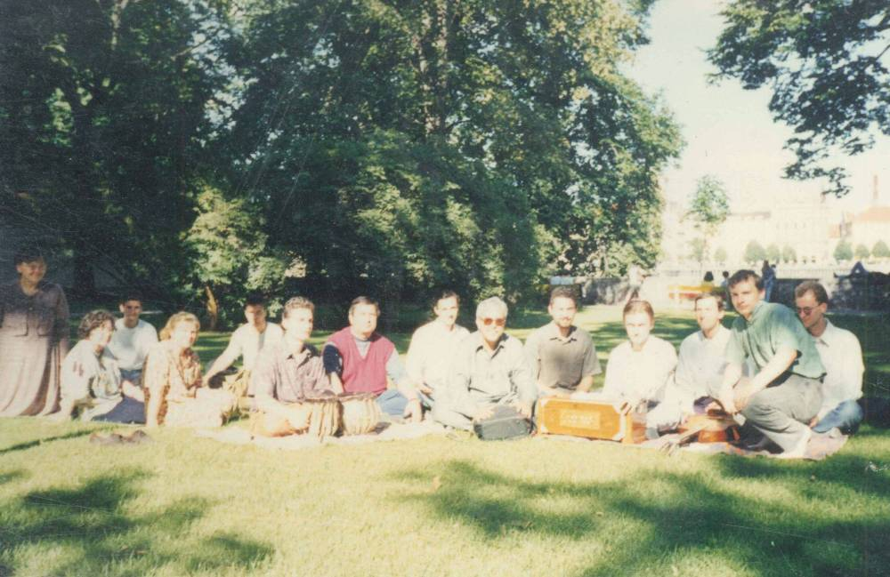 Singing Collective bhajans on streets of Prague, Czech Republic 2001